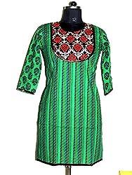 Rahasya Creations Women's Cotton Stitched Kurti (AQ1__Green_Large)