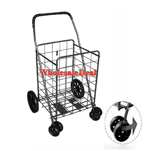 51j3D0%2BXepL Jumbo Folding Shopping Black Swivel Wheel Cart