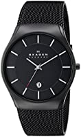 Skagen Men's 956XLTBB Matthies Quartz 3 Hand Date Titanium Black Watch