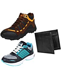 Earton Men COMBO Pack 3 Canvas Casual Shoe With Sports Shoes & Wallet