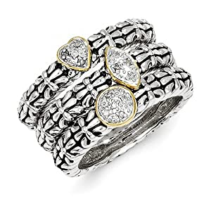 Genuine IceCarats Designer Jewelry Gift Size 8.00 Sterling Silver W/14K 1/20Ct. Diamond 3 Stackable Rings In 14K/Silver Two-Tone.