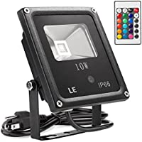 Lighting Ever 10W RGB 16-Colors & 4-Modes LED Outdoor Flood Lights with Remote Control