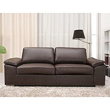 Gold Sparrow Hampton Leather Sofa in Coffee