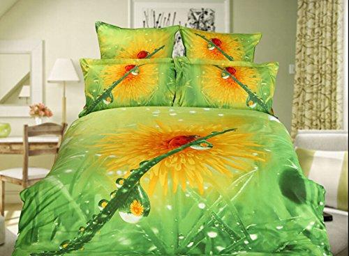 Queen Size 100% Cotton 4-Pieces 3D Yellow Sunflower Green Floral Prints Duvet Cover Set/Bed Linens/Bed Sheet Sets/Bedclothes/Bedding Sets/Bed Sets/Bed Covers/5-Pieces Comforter Sets (4) front-977724