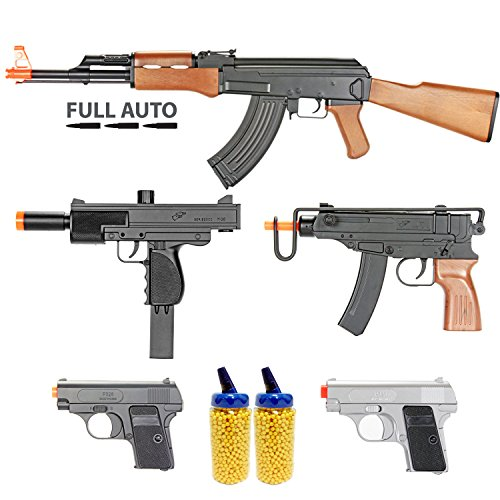 BBTac Airsoft Gun Package - Guerilla Collection of 5 Airsoft Guns - Full Auto AK AEG Electric Airsoft Rifle, Skorpion, Uz and Dual Mini Pistols, 4000 BB Pellets, Great for Starter Pack Game Play (Starter Aeg compare prices)