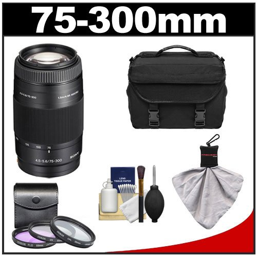 Sony Alpha 75-300mm f/4.5-5.6 Zoom Lens with Case + 3 UV/CPL/FLD Filter Set + Cleaning Kit for A57, A58, A65, A77, A99 Digital SLR Cameras