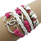 Willtoo® DIY Style Jewelry fashion Leather Cute Infinity Charm Bracelet (Hot Pink)