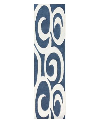 zNz Rugs Gallery Alliyah Rug, Ivory/Grey Blue, 2' x 8' Runner