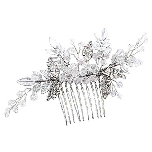 FAYBOX Bridal Handmade Silver Tone Crystal Leaf Style Hair Side Comb Party Anniversary Wedding Accessories B