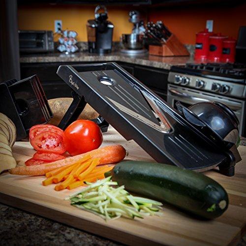 The Original Mandoline V-Slicer - Professional Chef Slicer + Bonus Recipes - Christmas Gift - Vegetable Slicer, Food Slicer, Cheese Slicer, Vegetable Cutter, Julienne Chopper - Stainless Steel Blade (V Slicers compare prices)