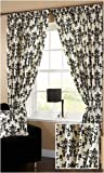 Baroque Ivory Ground Damask Flocked Ready Made Curtain Fully Lined (Black, 66