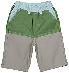 Oye Boys Knee Length Shorts - Light Grey/Green (3-4 Y)