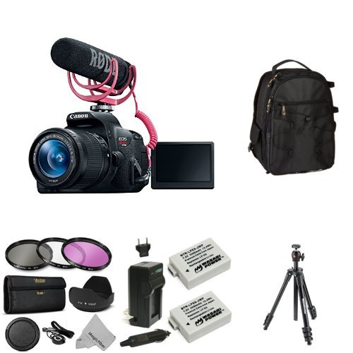 Canon EOS Rebel T5i Video Creator Kit with 18-55mm Lens, Rode VIDEOMIC GO and Sandisk 32GB SD Card Class 10 + Bag, Battery, Tripod and Lens Filters
