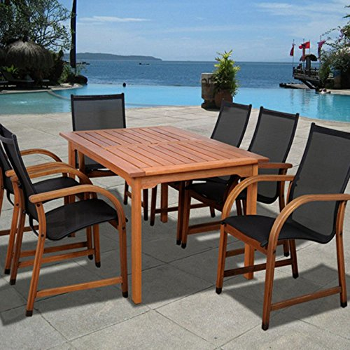 amazonia indiana 7 piece eucalyptus rectangular patio dining set dealtrend. Black Bedroom Furniture Sets. Home Design Ideas