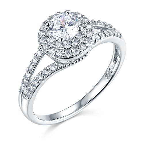 14k White Gold SOLID Wedding Engagement Ring - Size 6.5