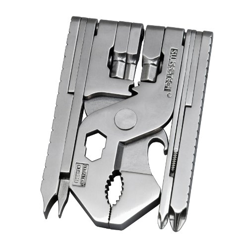 Swiss+Tech ST53130 Polished SS 22-in-1 Pocket Multitool Kit with Wrenches, Allen Drivers, Hand Drill