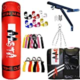 Aasta 3ft Punch Bag Filled Wall Bracket Boxing MMA Training Mitts Chain Wraps Rope Set Kickboxing UFC Fight