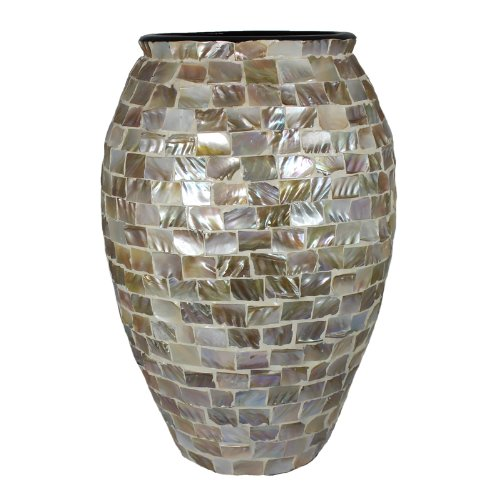 Essential Décor Entrada Collection Mother of Pearl Encrusted Vase, 17 by 9-Inch