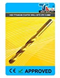 TK9K® - Power Tool Accessories Titanium HSS Drills HSS Titanium-Coated Drill Bits 2pk 5.0mm Ground twist high speed steel. For aluminium, steel, plastic, wood and non-ferrous metals. Titanium-coated for extended life and fast bit penetration.