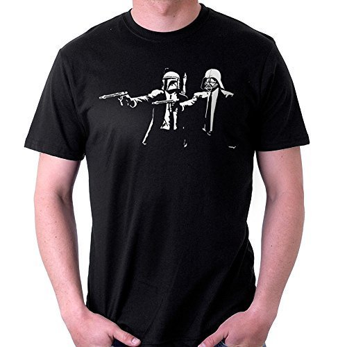 Banksy Star Wars Pulp Fiction, Men's T-Shirt, Black, Large