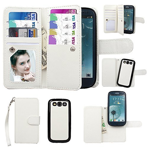 Galaxy S3 Case, xhorizon TM Premium Leather Folio Case [Wallet Function] [Magnetic Detachable] Fashion Wristlet Purse Soft Flip Multiple Card Slots Case Cover ZA5 for Samsung Galaxy S3 (I9300) - White (Wristlet For Samsung Galaxy S3 compare prices)