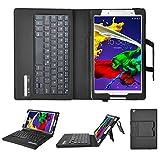 KuGi Lenovo Tab2 501LV SoftBank Tab 2 キーボード 専用 Bluetooth キーボード ケース 脱着式 一体型 PUレザーカバー付き ブラック