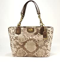 Hot Sale Coach Madison Python Print Zip Tote Handbag 20482 Khaki Multi