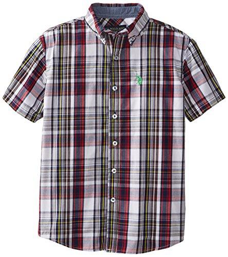 U.S. Polo Assn. Big Boys' Short Sleeve Plaid Sport Shirt, White, 18