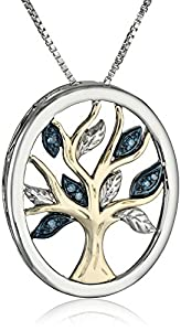 XPY Sterling Silver and 14k Yellow Gold Blue Diamond Tree of Life Pendant Necklace (0.03 cttw, I2-I3 Clarity), 18""