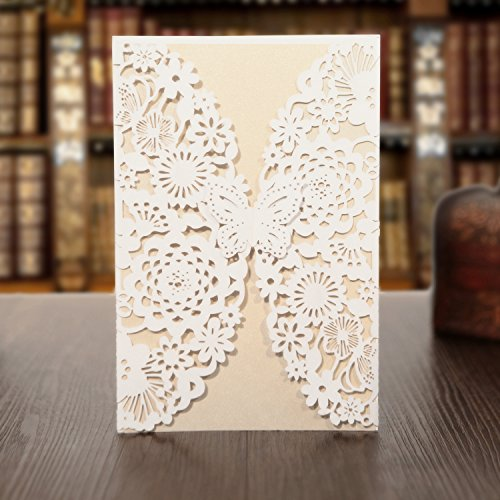 KAZIPA 25 Pack Set Laser Cut Invitations Cards, Lace Invitation Kit for Wedding Bridal Shower Birthday with Printable Paper and Envelopes(White+Ivory)