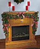 Lighted Lantern Garland Battery Operated Red Berries Ornaments Plaid Bow Pine Cones Garland Christmas Home Accent Decoration