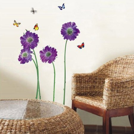 Restly(TM)Violet Flowers Wall Stickers Mural Art Decor