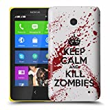 Nokia Lumia 630 Case - White / Red Hard Plastic (PC) Cover with Funny Keep Calm and Kill Zombies Design