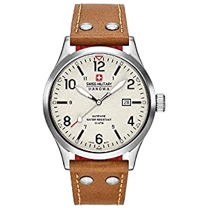 Swiss Military Men's 42mm Brown Leather Band Steel Case Quartz Beige Dial Analog Watch 06-4280.04.002.02