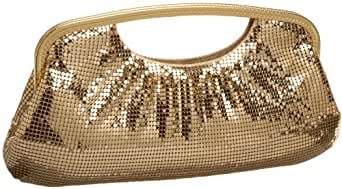 Whiting & Davis Classic Shirred Cut out Handle Clutch,Gold,one size
