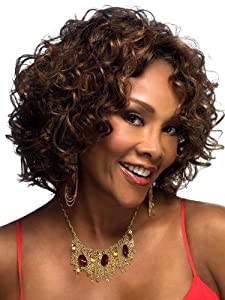 M4U Womens Natural top Curly Short Wig Deep Brown