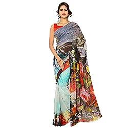 Senorita Fashion Multicolor Georgette Digital Printed Saree