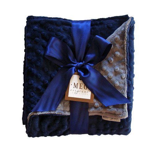 MEG Original Minky Dot Baby Boy Blanket Navy/Charcoal 374 - 1