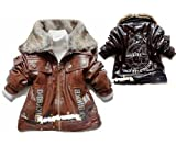 TKC Baby Boys PU Leather Winter Jackets Fake Fur Collar Outwear 2 Color 3-5Y by Leather Factory Outlet