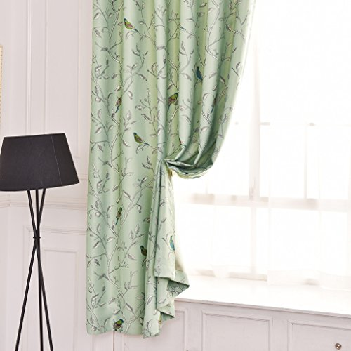 Flamingop Traditional Turquoise Birds Thermal Insulated Blackout Curtains For Bedroom Antique