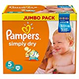 Pampers Simply Dry  Size 5 Large Pack 66 X2 (132 Nappies)