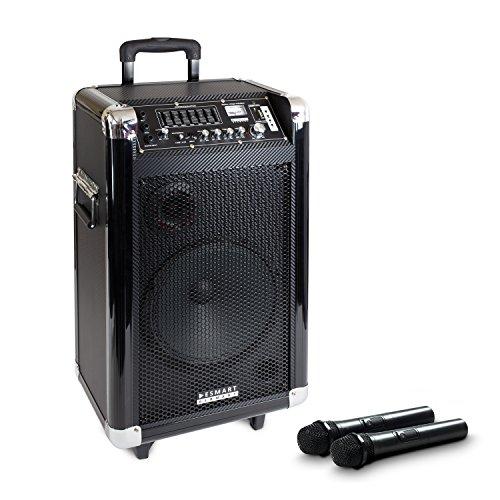 eSmart-Germany-Takomi-mobiler-DJ-Lautsprecher-Gitarrenanschluss-Akku-und-Funk-Mikrofon-FM-RADIO-TUNER-Bluetooth-MP3-USB-SD-Slot
