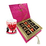 Chocholik Luxury Chocolates - Love Begins With Love Chocolates And Love Mug Combo