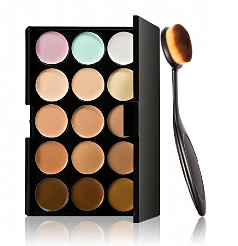 Fheaven Cosmetic Makeup Blusher Toothbrush Curve Foundation Brush+15 Colors Concealer