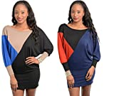 Vogue Women's Boat Neck Long Batwing Sleeve Knitted Jumper Sweater Mini Dress