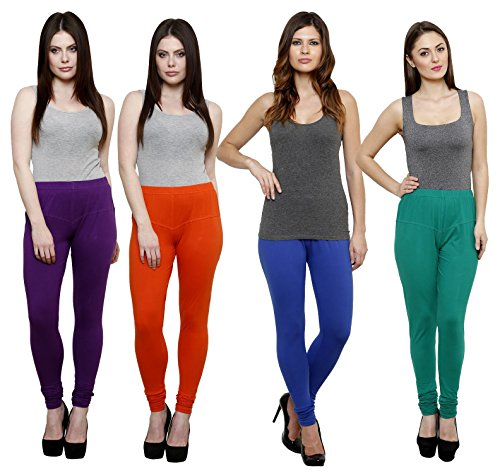 9b240fc595946e Pistaa Combo Of Purple, Mango, Royal Blue and Pak Green Color Stretch  Churidar Women's