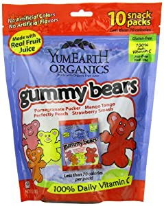 YumEarth Organics Gummy Bears, 10 snack packs (7oz)