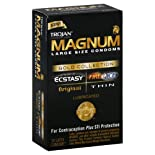 Trojan Magnum Condoms, Premium Latex, Lubricated, Gold Collection, Large Size, 10 ct.