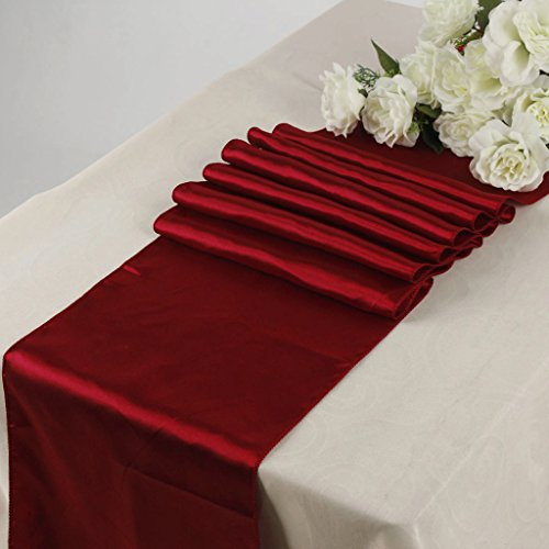 MDS Pack Of 10 Wedding 12 x 108 inch Satin Table Runner Wedding Banquet Decoration- Apple Red