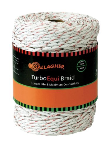Gallagher G62174 Electric Turbo Equibraid Rope, 656-Feet, White